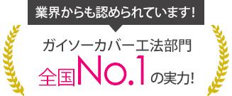 ガイソーカバー工法部門全国No.1の実力!
